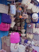 Crafts. Handmade wicker bags, baskets and boxes in a street shop in Essaouira, Morocco. — Stock Photo