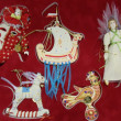 Gift.Collectible Christmas toys with Slavonic fairy-tale motif in velvet box. — Stockfoto #21289911