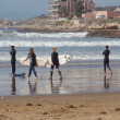 Surf lessons for beginners in Taghazout, Morocco. January, 2013. — Stock Photo