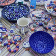 Handmade glass trinkets. Moscow flea market Tishinka. March, 2013 — Stock Photo