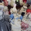 Handmade soft collectible dolls. Moscow flea market Tishinka. March, 2013. — Stock Photo