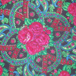 Background. A part of a Russian shawl with a flower pattern on a black background. — Stock Photo