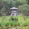 A stone decorative lantern on a small island in the Japanese garden in Moscow. August, 2013. — Stock Photo