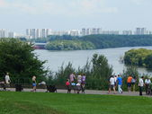 City view. Summer weekend in Kolomenskoe, Moscow. The view from the old park at modern Moscow.residential houses. August, 2013. — Stock Photo