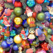 Stock Photo: Christmas tree background. Abundance of christmas toys.
