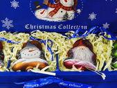 Samling av jul leksaker i en blå ruta. — Stockfoto