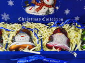 Collection of Christmas toys in a blue box. — Stock Photo