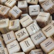 Wooden cubes for fortune predicting as a background. — Stock Photo