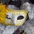 New Year carnival mask on the fir tree branches. Background. Close-up. — Stock Photo