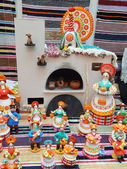"Bright Russian clay toys. One of the stands at the exhibition ""New Year Expo 2013"", Moscow. September, 2013. — Stockfoto"