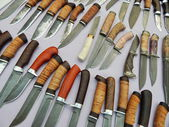 """Hunting knives at Moscow International Exhibition """"Arms and Hunting"""". October, 2013. — Stock Photo"""