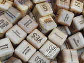 Wooden dice for fortune-telling. Background. — Stock Photo