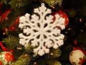 Christmas toys background. A snowflake. — Stock Photo