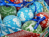 Christmas toys background. Christmas balls. — Stock Photo