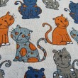 Background. Texture. Close-up. Fabric with seamless pattern with cats. — Stock Photo