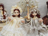 "Collectible handmade dolls. The IVth Moscow International Exhibition ""Art of Dolls"". December, 2013. — Stockfoto"
