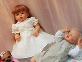 "Collectible handmade dolls. The IVth Moscow International Exhibition ""Art of Dolls"". December, 2013. — Stock Photo"