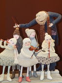 """Collectible handmade dolls. The IVth Moscow International Exhibition """"Art of Dolls"""". December, 2013. — Stock Photo"""