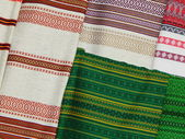 Linen fabrics with special folk patterns. — Stock Photo