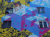 Streetart. Graffiti on the wall of an old residential building, Moscow. April, 2014. — Stock fotografie