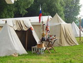 "A military camp.The fourth international historical festival ""Times and epochs 1914-2014"", Kolomenskoye, Moscow. June 7th, 2014. — Foto de Stock"