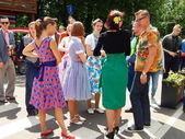 Retrofest in the park Sokolniki, Moscow. July, 2014. The youth in the clothes of 1950-1960s. — Stock Photo