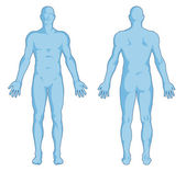 Male body shapes - human body outline - posterior and anterior view - full body — Stok fotoğraf