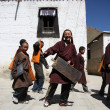 Tibet going to school - Stock Photo
