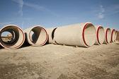 Stack concrete drainage pipe — Stock Photo