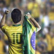 Brazilian soccer player holding the flag of Brazil celebrates with the fans on the stadium — Stock Photo