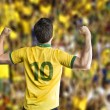 Brazilian soccer player celebrates with the fans — Stock Photo