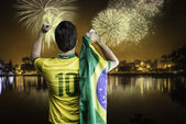 Brazilian fan celebrates the victory in Sao Paulo, Brazil — Stock Photo