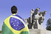 Brasiliano in possesso di una bandiera brasiliana guarda al monumento bandeirantes in ibirapuera park, sao paulo, Brasile — Foto Stock