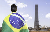 Brazilian holding a brazilian flag looks to Ibirapuera Park, Sao Paulo, Brazil — Photo