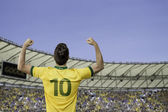 Brazilian soccer player celebrates with the fans on the stadium — Stock Photo