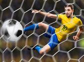 Brazilian soccer player in the jump, kicks the ball on the stadium — Stock Photo