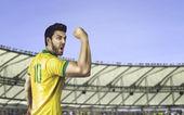 Brazilský fotbalista oslavuje s fanoušky na stadionu — Stock fotografie