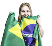 Woman holds a brazilian flag — Photo