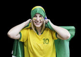 Woman holds a brazilian flag — Stock Photo