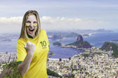 Brazilian woman celebrates on Rio de Janeiro, Brazil — Stock Photo