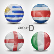 Group D - Uruguay, Costa Rica, England, Italy (Brazil) — Stock Photo