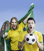 Brazilian fan celebrates on Rio de Janeiro, Brazil — Stock Photo