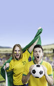 Brazilian fan celebrates on the stadium — Stock Photo