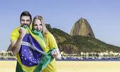 Brazilian fans celebrate on Rio de Janeiro, Brazil — Stock Photo