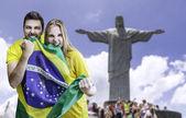 Rio de janeiro, Brezilya Brezilyalı hayranları kutlamak — Stok fotoğraf