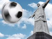 Soccer ball traveling on the Rio de Janeiro, Brazil, South America — Stock Photo