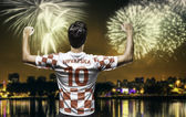 Croatian soccer player celebrates the victory after the match — Foto de Stock