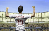 English soccer player celebrates on the stadium with the fans — Stock Photo