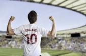 English fan celebrates on the stadium — Stock Photo