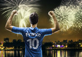 French fan player celebrates the victory after the match — Stockfoto